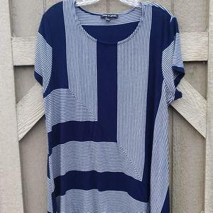 Cable & Gauge short sleeve blue/white stripe shirt